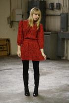 black Forever 21 boots - ruby red Vintage by We Move Vintage dress - black Forev