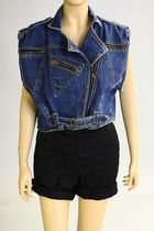 blue Vintage from We Move Vintage vest - black vintage shorts