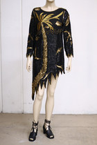 Black-assymetric-silk-vintage-dress