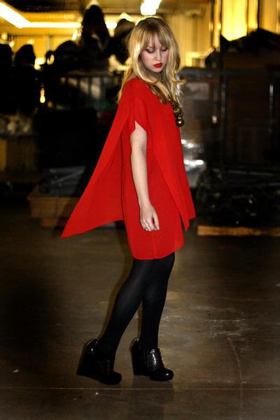 red Vintage by We Move Vintage dress - black Forever 21 tights - black Forever 2