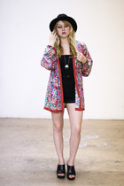 red Vintage by We Move Vintage jacket - black vintage shorts - black H&M top