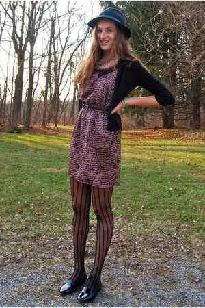black pinstripe Vera Vera Wang tights - pink silk Lulus dress