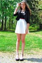 white go jane dress - black Blowfish shoes - black Ruttish blazer