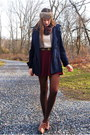 Crimson-topshop-dress-navy-delias-coat-light-brown-h-m-hat