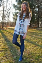 cream Ruttish dress - navy Gap shoes - navy HUE tights - cream Loft top
