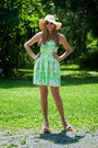 Chartreuse-lilly-pulitzer-dress-tan-target-hat