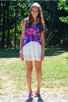 violet Forever 21 top - bubble gum sperry shoes - white Phrenzy skirt