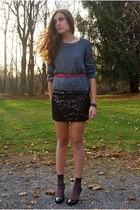 black sequined Macys dress - silver H&M sweater - bubble gum HUE socks
