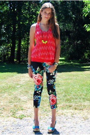 black pants - hot pink bracelet - chartreuse necklace - coral Ya top
