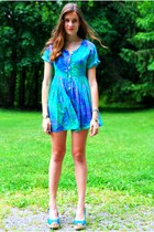 turquoise blue vintage Native Heart dress - sky blue Marcella Leone bracelet