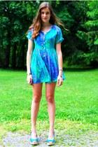 turquoise blue vintage Native Heart dress - sky blue Marcella Leone bracelet