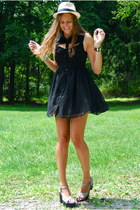 black Glamorous dress - black Blowfish shoes - eggshell nyc vendor hat
