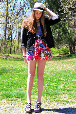 bubble gum Forever 21 skirt - neutral Street Vendor hat - black mens Gap jacket