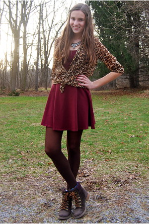 crimson Topshop dress - dark brown Call it Spring boots - brown Old Navy shirt