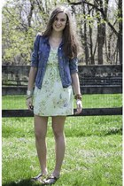 aquamarine BeBop dress - sky blue J Crew jacket - gold AMuse Me Boutique sandals