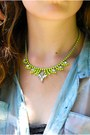 Chartreuse-neon-crystal-marcellaleone-necklace-charcoal-gray-romwe-sunglasses