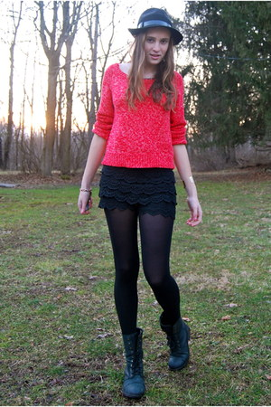 salmon Nordstrom sweater - black fabric scrap boots - black vintage hat