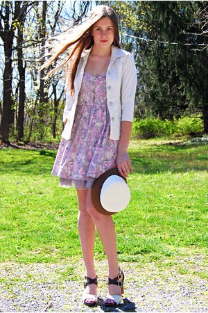 light purple free people dress - cream Target hat - ivory Macys jacket