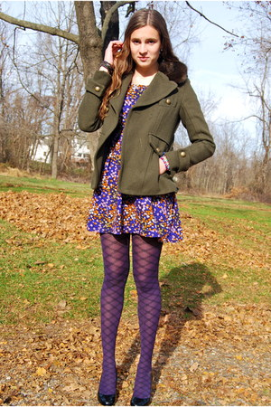 deep purple Hue via Lord and Taylor tights - purple Forever 21 dress