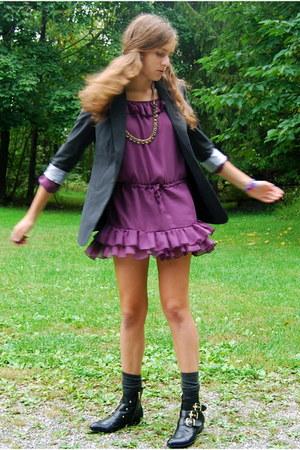 purple ruffled Ruttish dress - black gold buckle Dolce Vita for Target boots