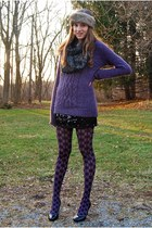 amethyst Vera Wang for Kohls tights - black Macys dress - camel headband H&M hat