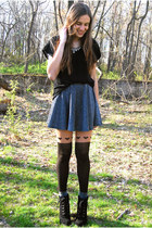 gray socks - black joe fresh style boots - black StyleMint top