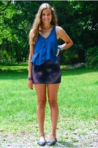 black mmddyyy skirt - navy Gap flats - navy J Crew top - blue gifted bracelet