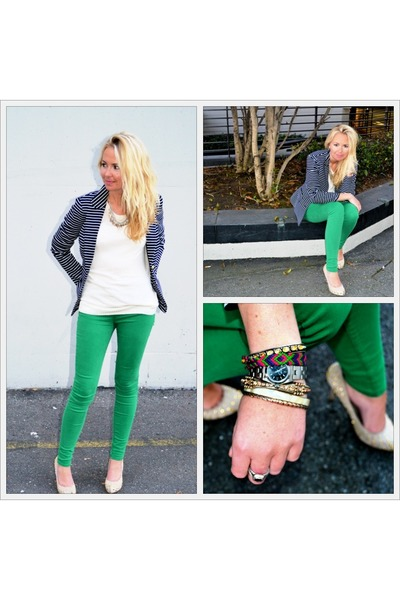 green jeans - navy blazer