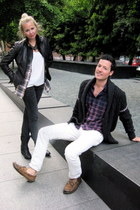 white Gap jeans - gray banana republic jeans - black banana republic jacket