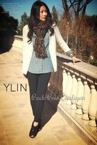 YLIN cardigan - boots - scarf - pants