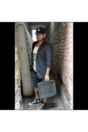 leather Louis Vuitton bag - cotton Diesel jeans - cotton Prada blazer