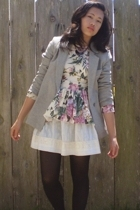 thrifted blazer - vintage blouse - homemade skirt - naturalizer shoes