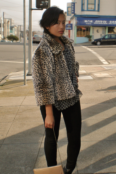 Ebay coat - Tahari blouse - Wetseal pants