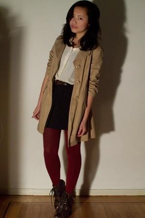 Nordstrom Rack coat - forever 21 dress - Marshalls stockings - Solestruckcom boo