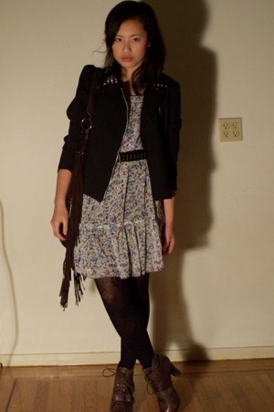 Pimkie dress - DIY jacket - thrifted belt - Givenchy tights - Solestruckcom shoe