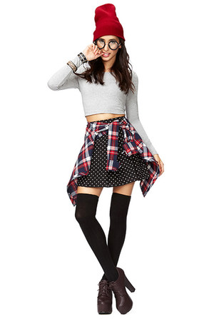 black Forever21 socks - brick red Forever2 hat - black Forever21 skirt