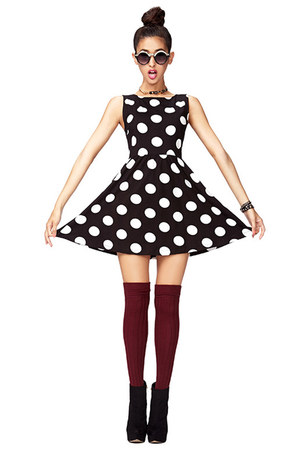black Forever 21 boots - white Forever 21 dress - crimson Forever 21 socks