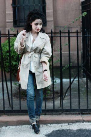 beige vintage coat - black vintage shoes - beige vintage blouse
