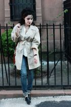 beige vintage coat - black vintage shoes - beige vintage blouse