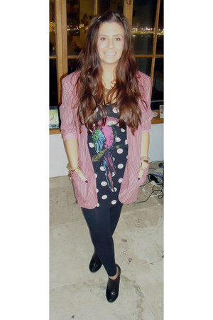 black Glassons leggings - bubble gum oversized vintage blazer - black shoe boots