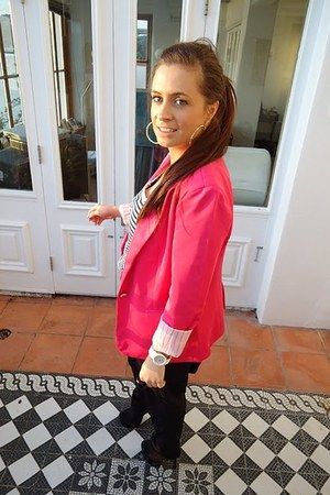 hot pink Zara jacket - white Matalan top - black harem pants TK Maxx pants