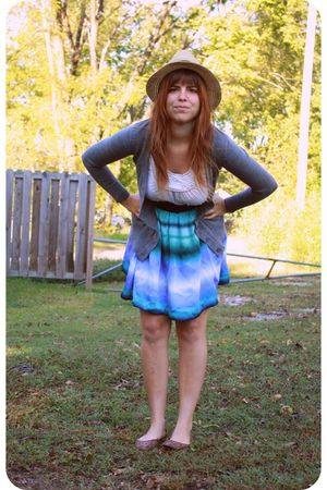 blue H&M skirt - gray Target cardigan - white Old Navy top - yellow Wet Seal hat