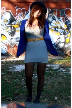 blue H&M cardigan - black H&M shoes - gray H&M dress - gold vintagee thrifted be