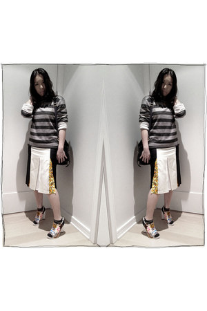 Stella McCartney skirt - Preen x Aldo shoes - striped American Eagle sweater