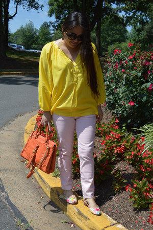 orange Olivia  Joy bag - light pink Zara jeans - yellow Forever 21 blouse