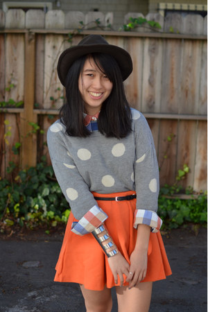 asos bracelet - Pendleton hat - f21 sweater - madewell shirt - asos skirt