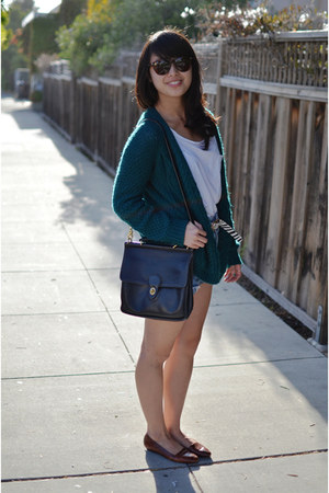 thrifted bag - thrifted shoes - thrifted shorts - Urban Outfitters cardigan