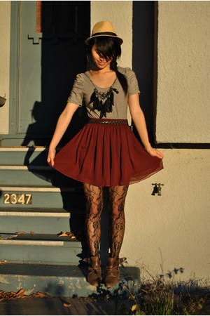 modified H&amp;M shirt - Zara shoes - urban outiftters tights - aa skirt