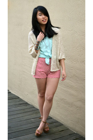 2020AVE cardigan - f21 shoes - 2020AVE shorts - H&M top