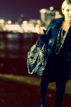 brown jacket - gold H&M necklace - gold Marc Jacobs knock-off purse - black Fore